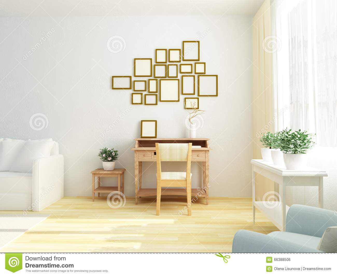 Light White Interior Of Living Room With Vintage Cabinet Table