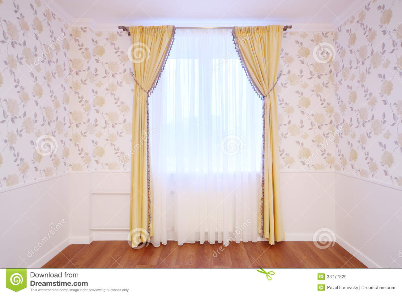 Simple window curtains - Royalty Free Stock Photo