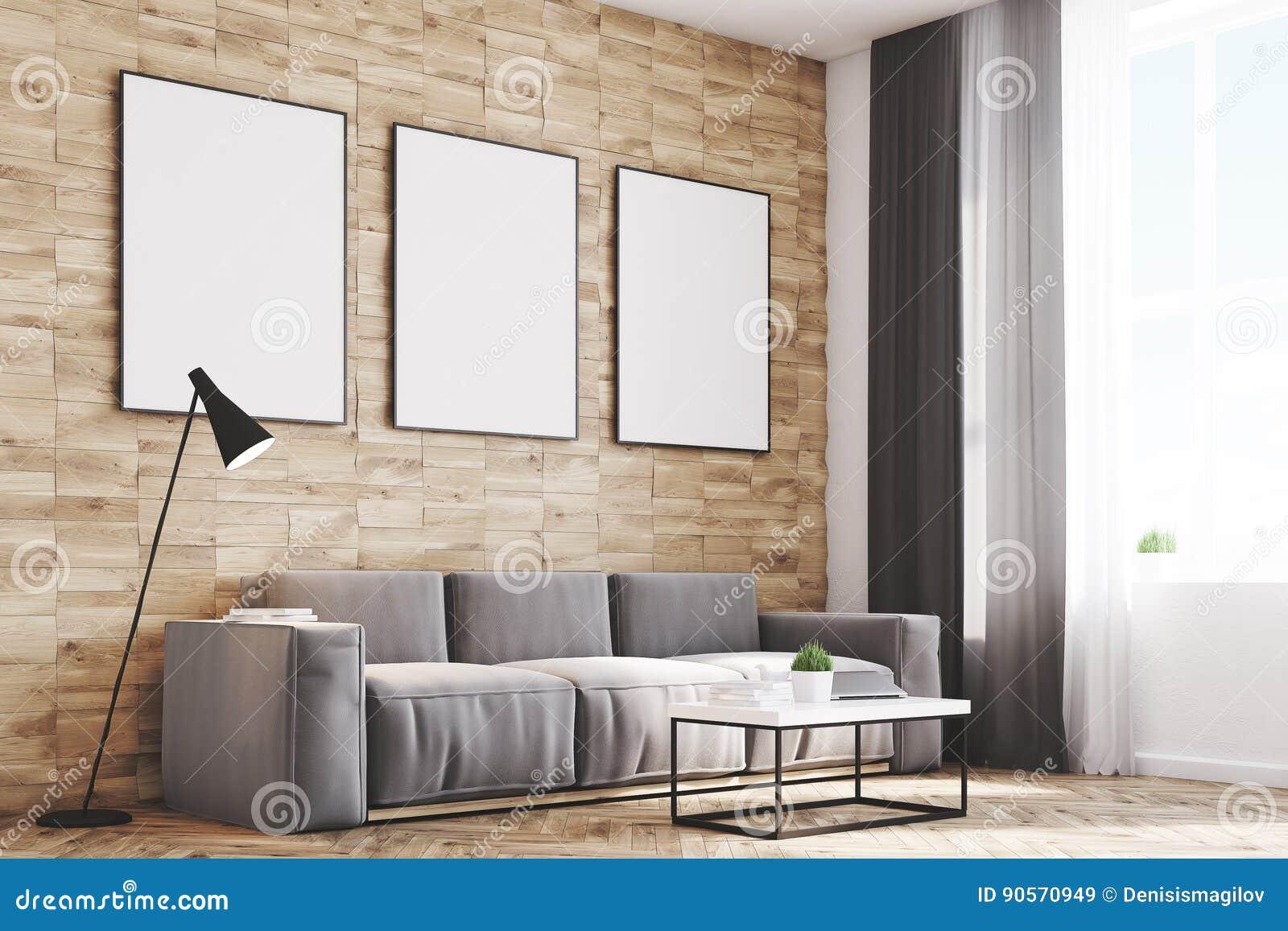 Light Wood Walls Living Room, Side Stock Illustration - Illustration ...