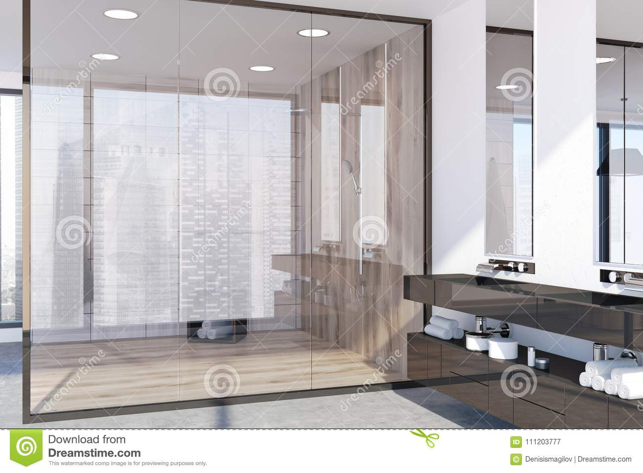 Light Wooden Bathroom, Shower Stall Stock Illustration ...