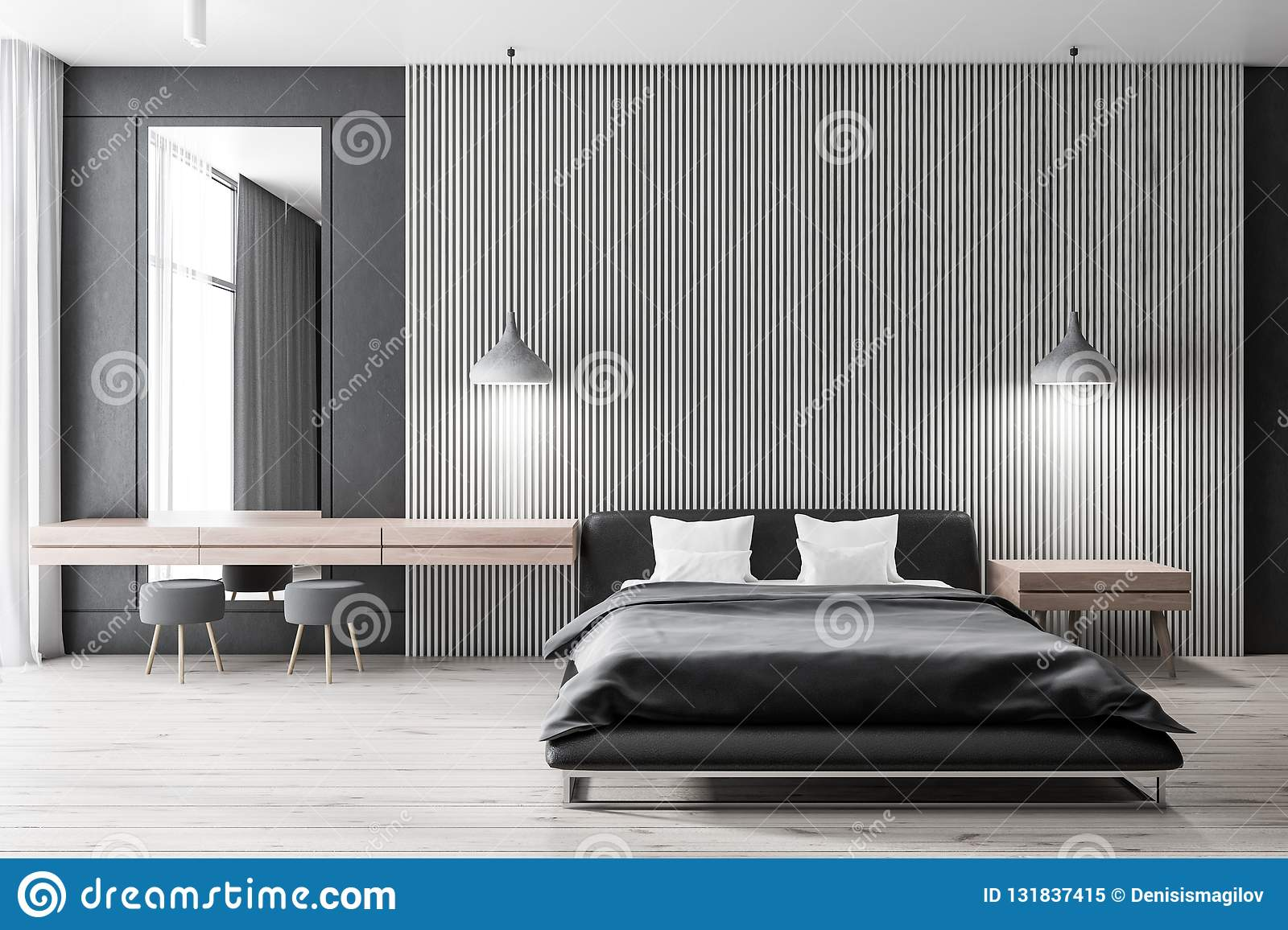 Light Wooden Bedroom Black Bed Stock Illustration Illustration Of Domestic Ceiling 131837415