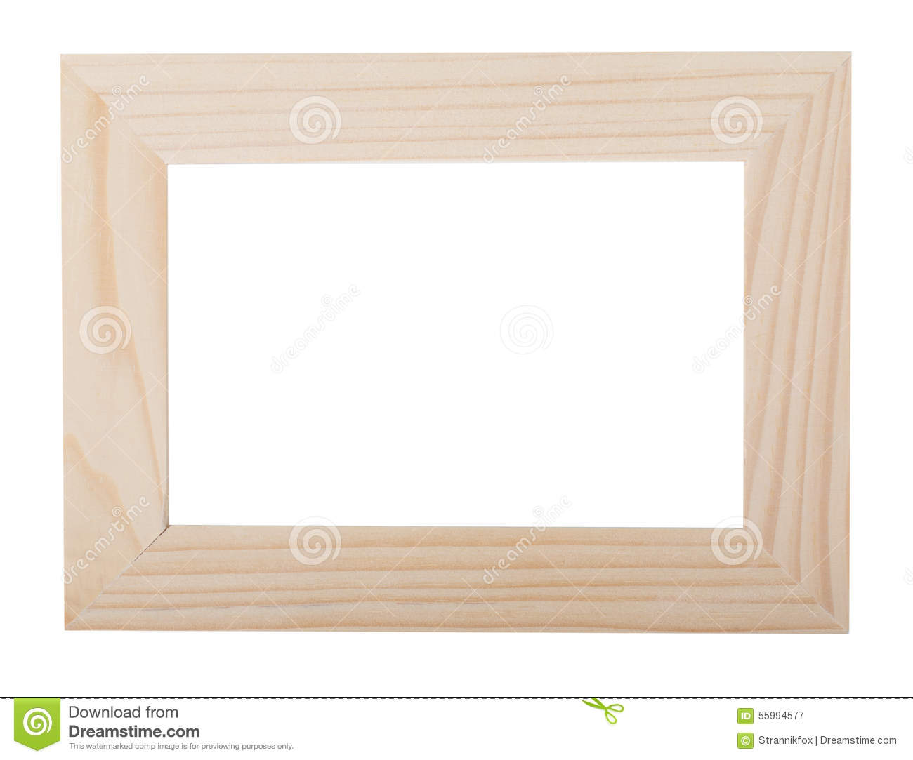 Light Wooden Frame On A White Background Stock Image - Image of ...