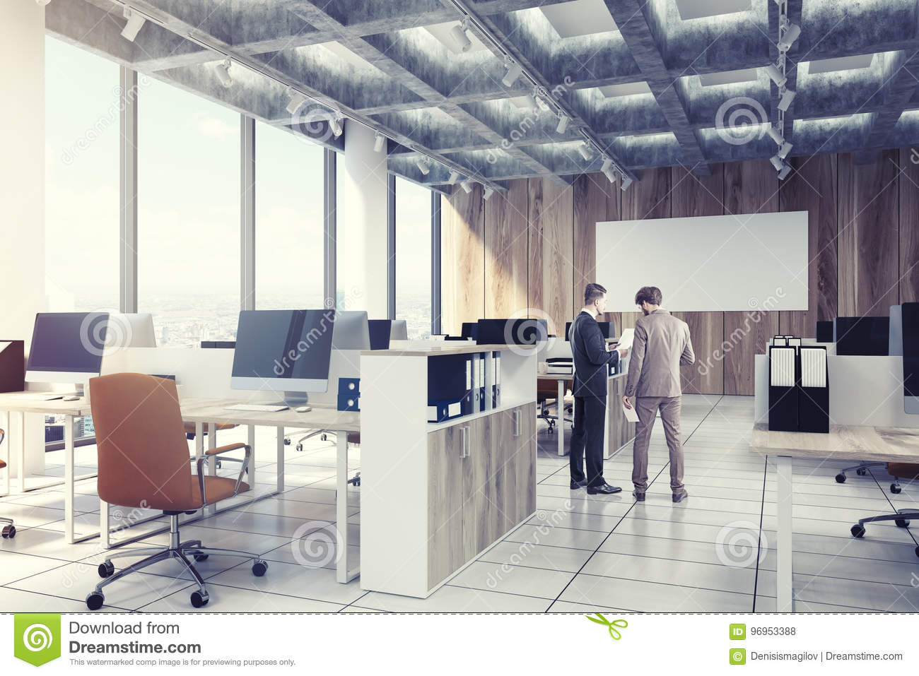 Light Wooden Open Office, Computers, Men, Side Stock Photo - Image ...