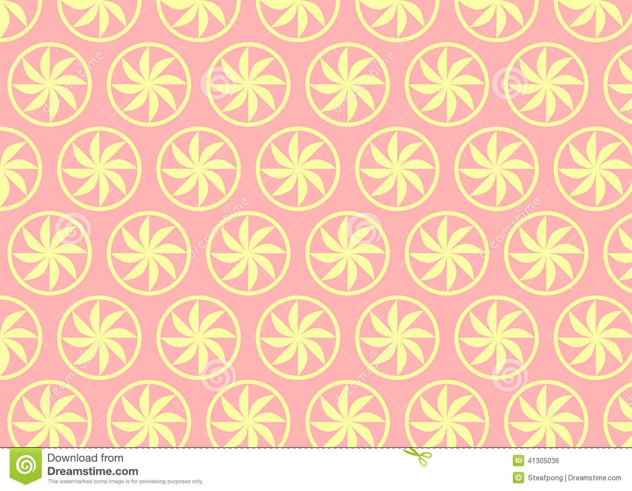 Light Yellow Curve Flower Pattern On Pastel Background