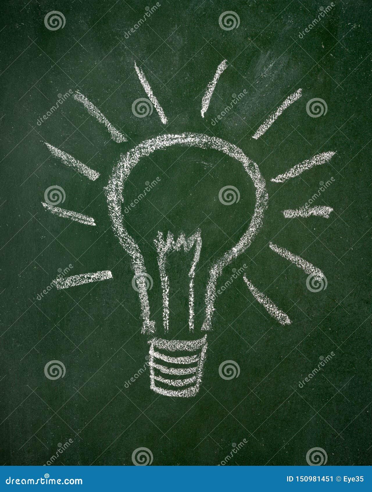 Lightbulb που επισύρεται την προσοχή σε έναν πίνακα κιμωλίας