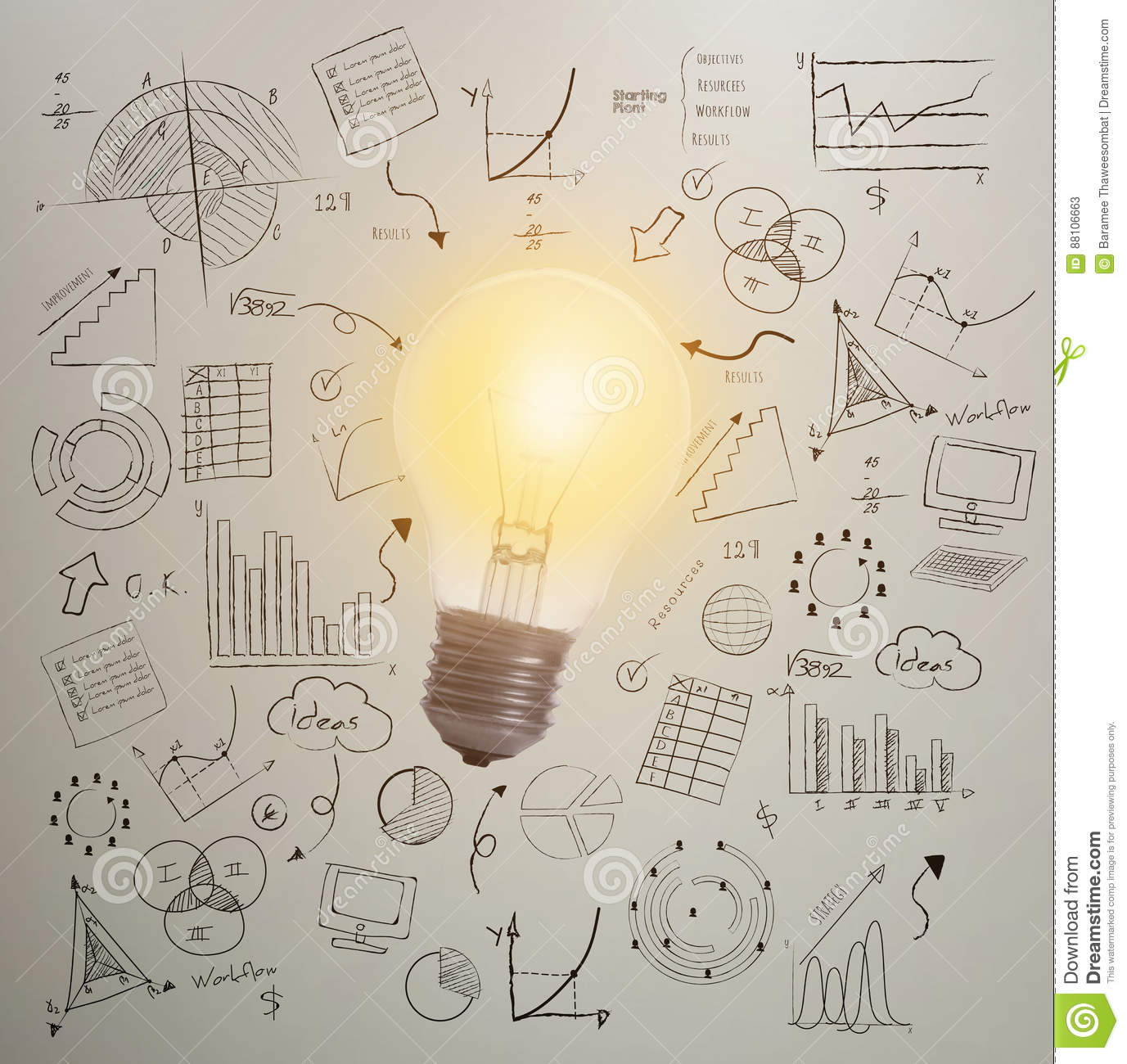 Lightbulb Business Wall Background. Concept For New Ideas Stock ...