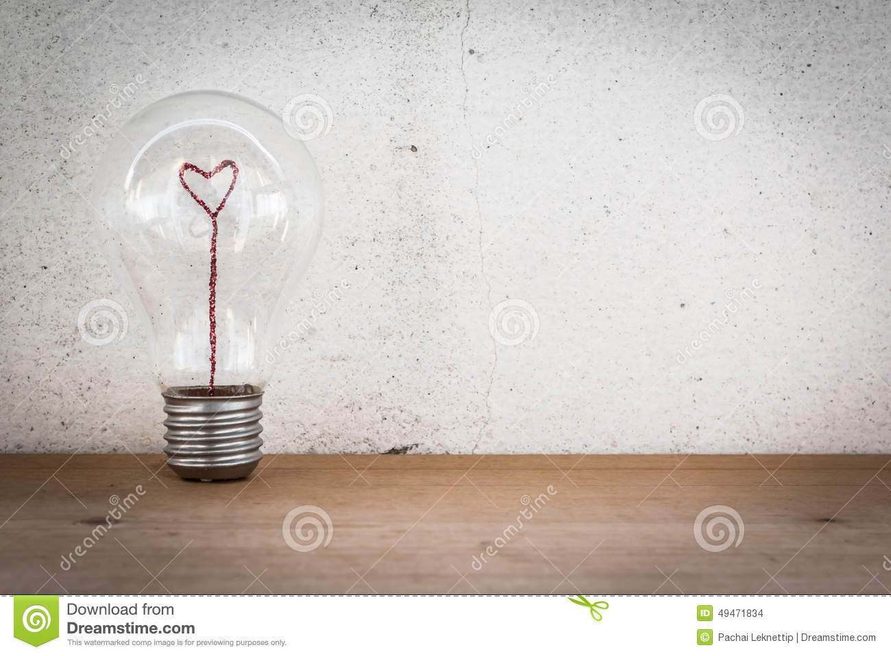 Lightbulb With Heart Shaped Filament Stock Photo - Image: 49471834