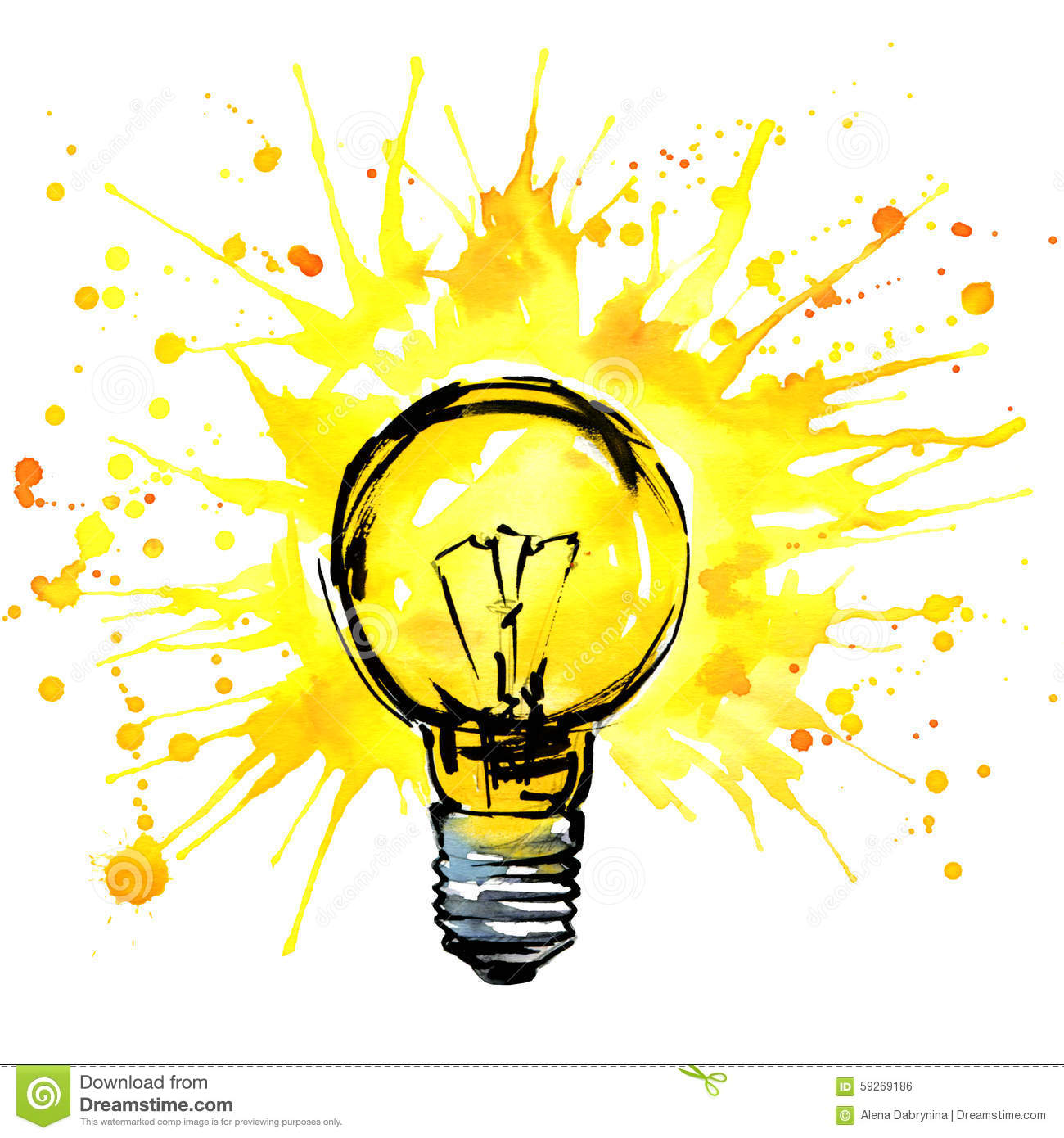 Lightbulb Idea Concept Watercolor Illustration. Hand Drawn Sign Royalty  Free Stock Image