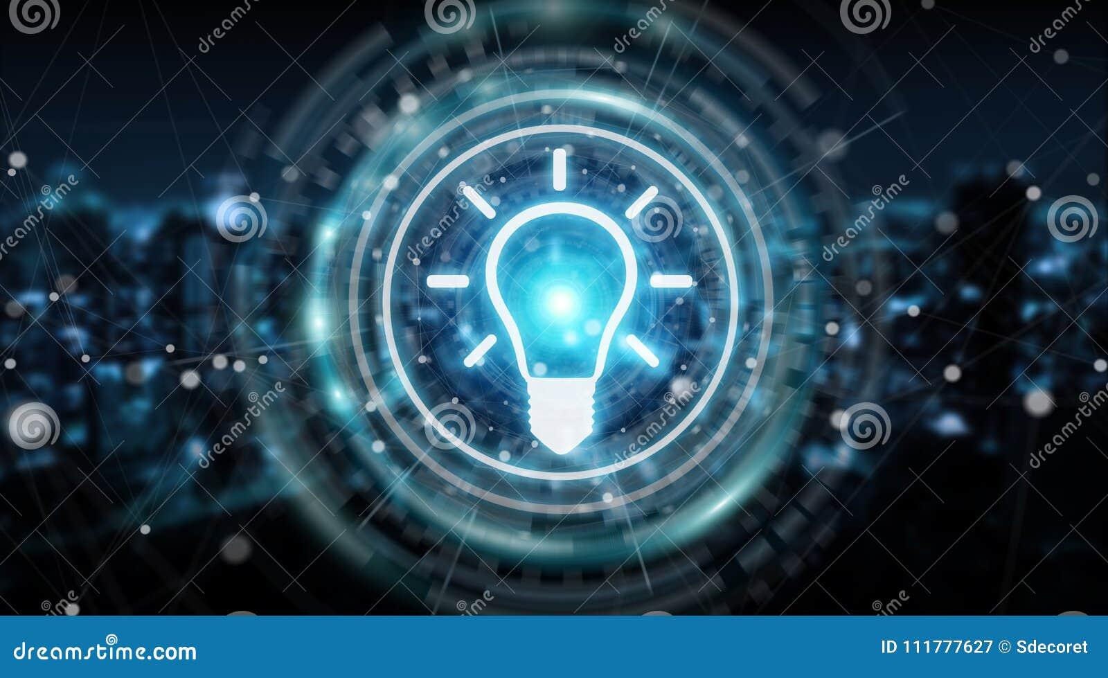 Lightbulb idea interface 3D rendering