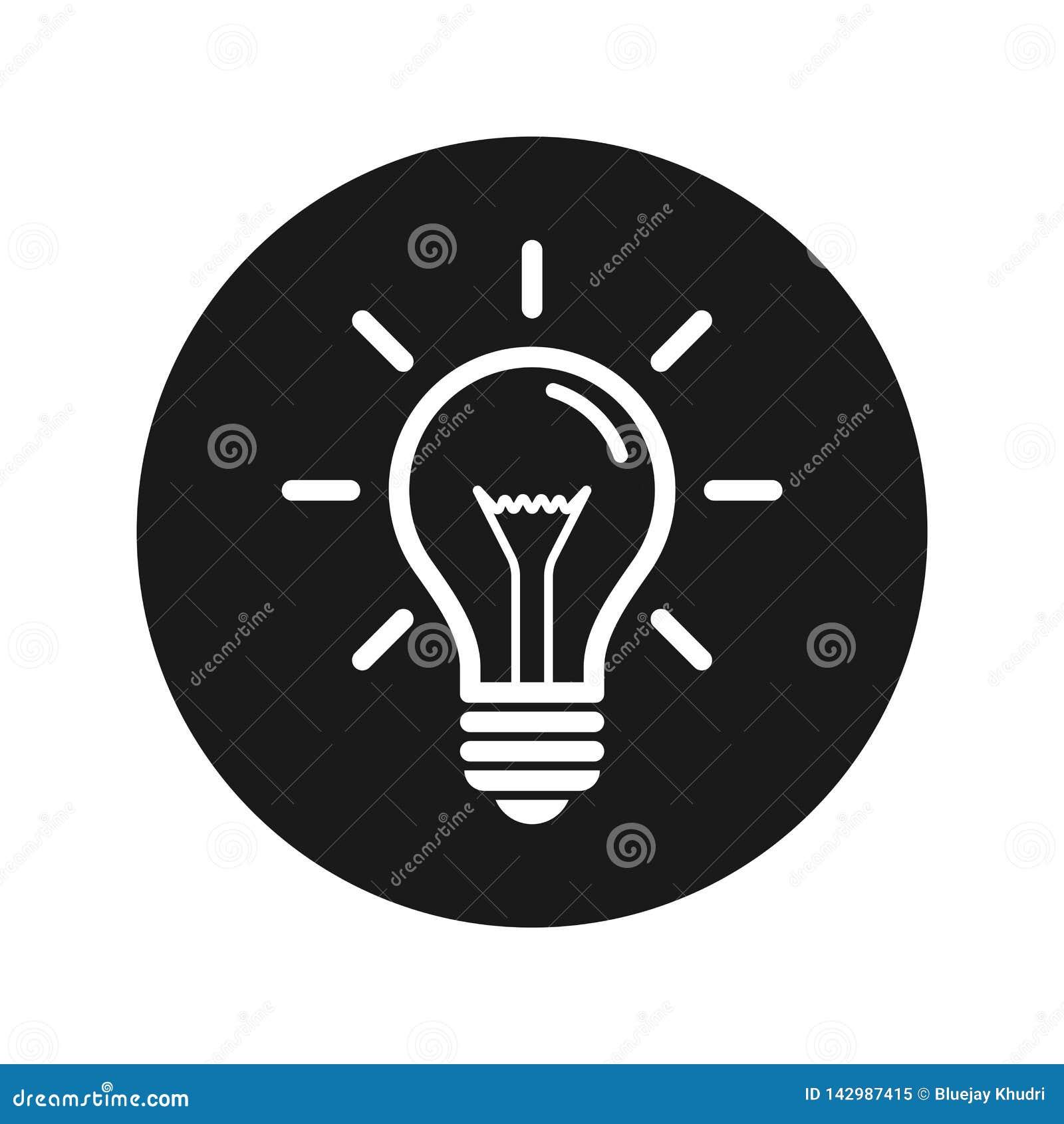 Lightbulb ikony płaskiego czerni round guzika wektoru ilustracja