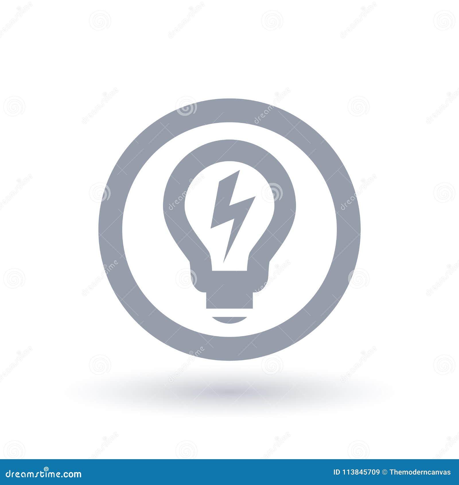 Lightbulb Power Icon. Light Energy Symbol. Electricity Sign. Stock ...