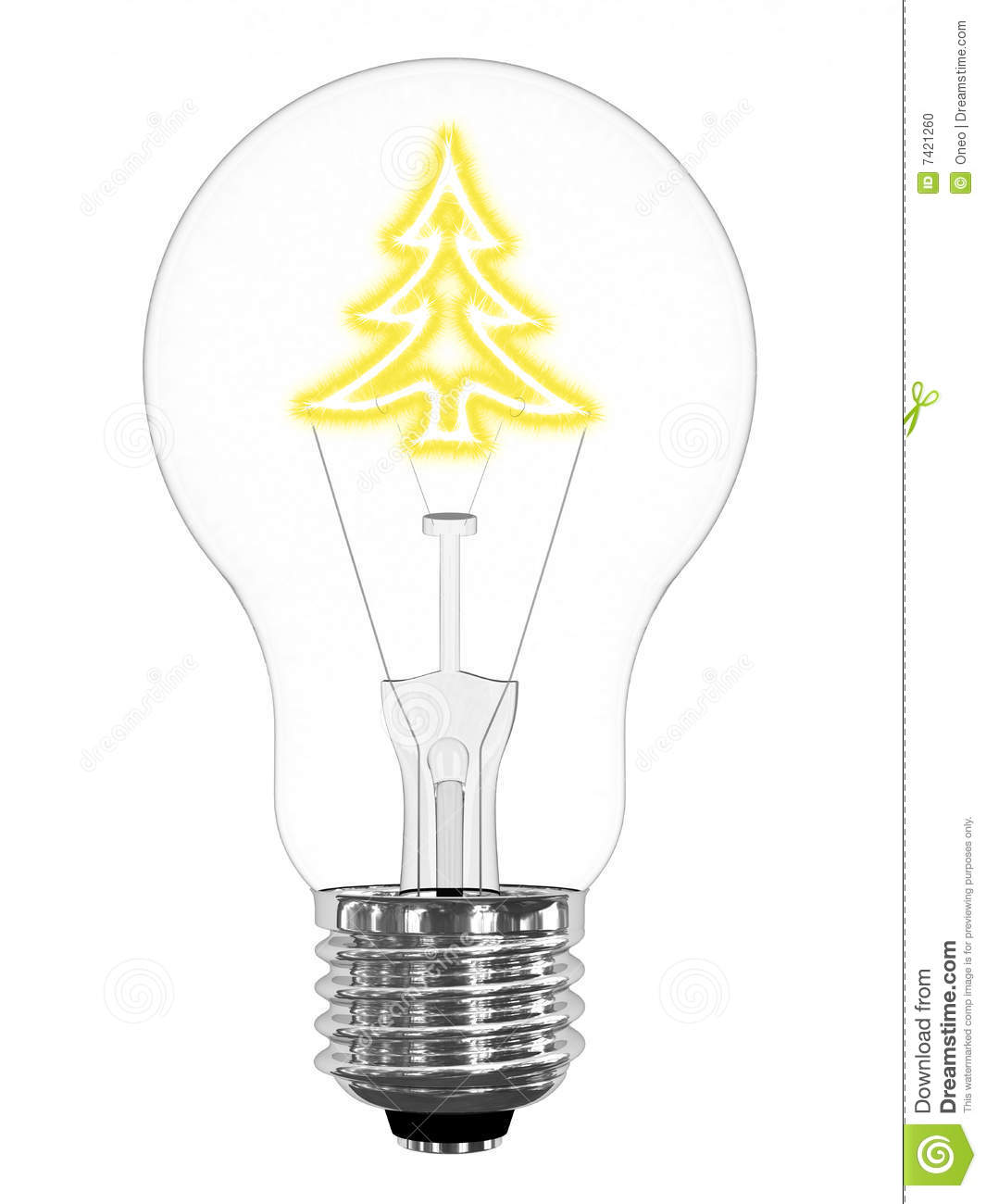 royalty free stock photo download lightbulb with sparkling christmas tree - Christmas Tree Light Bulb