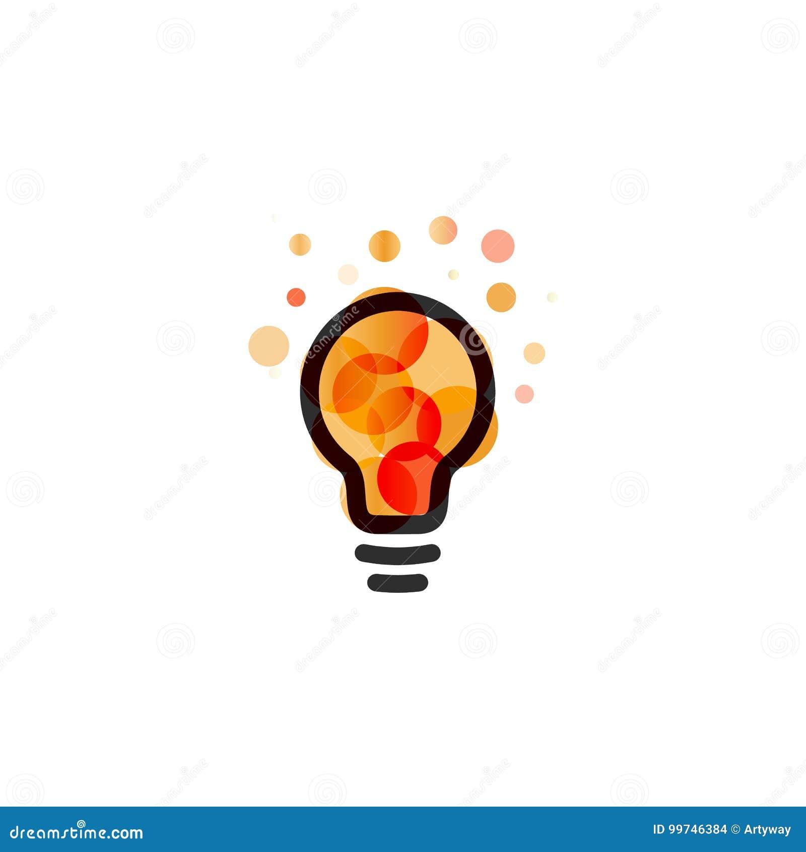 Lightbulbpictogram Creatief het ontwerpconcept van het ideeembleem Heldere kleurrijke cirkels, bellen vectorart. Oplossing voor i