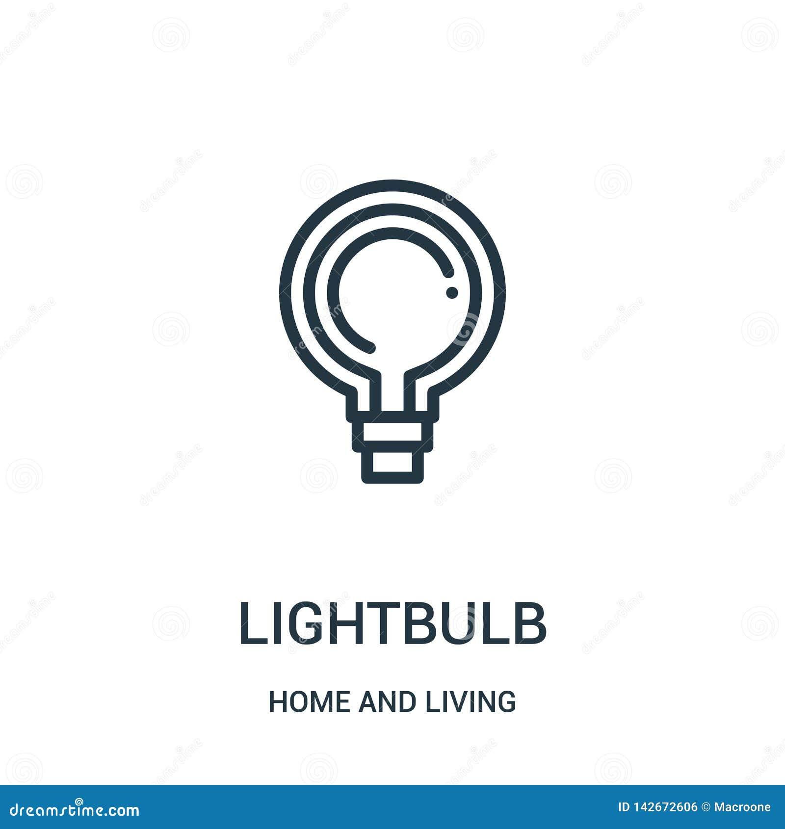 Lightbulbsymbolsvektor hemifrån och bosatt samling Tunn linje illustration för vektor för lightbulböversiktssymbol Linjärt symbol
