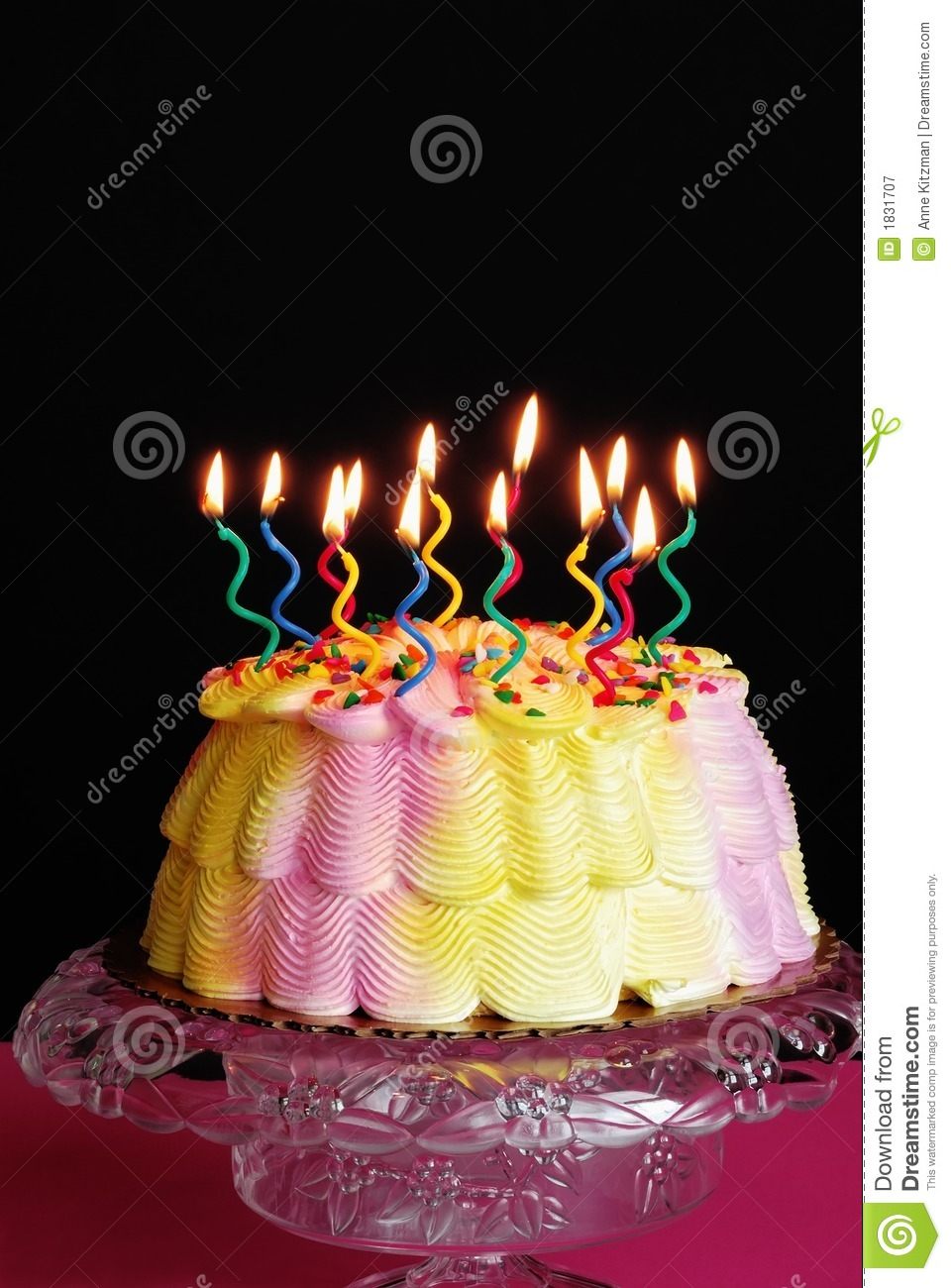 Lighted Birthday Cake Stock Image Image Of Baked Copyspace 1831707