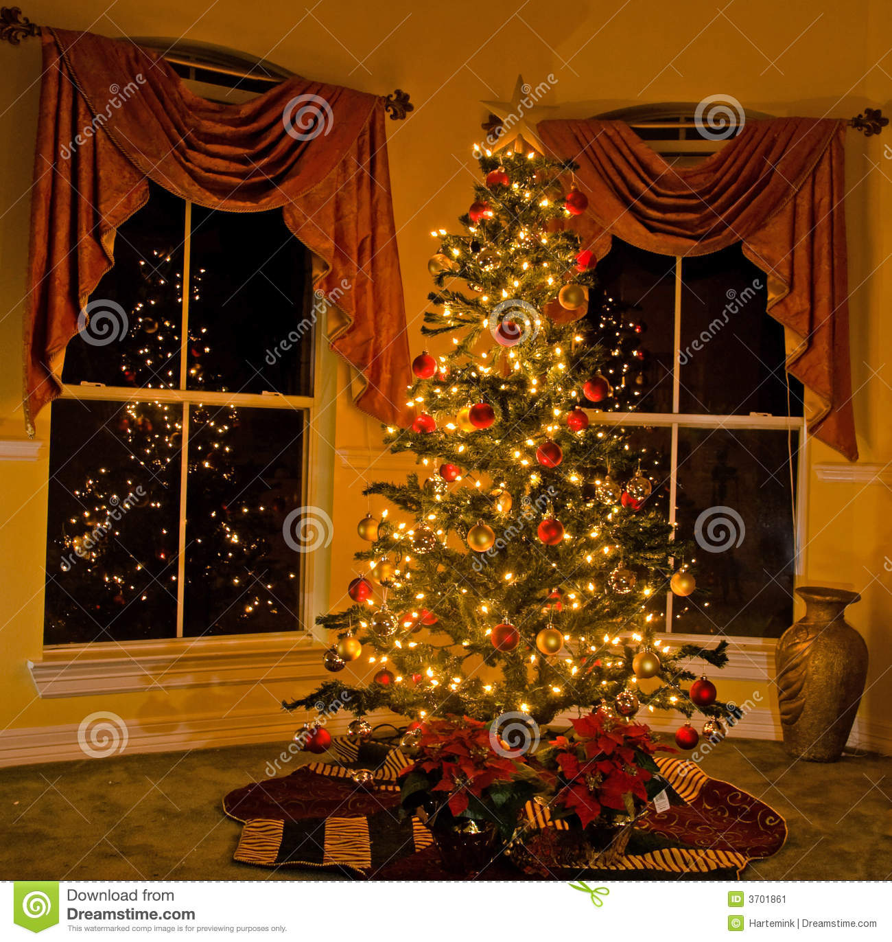 Lighted Christmas Tree In Cozy Home Stock Image  Image: 3701861