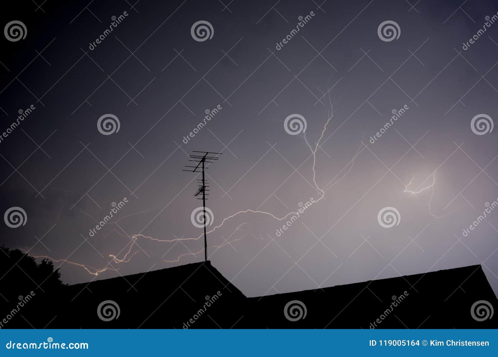 Lightening at night