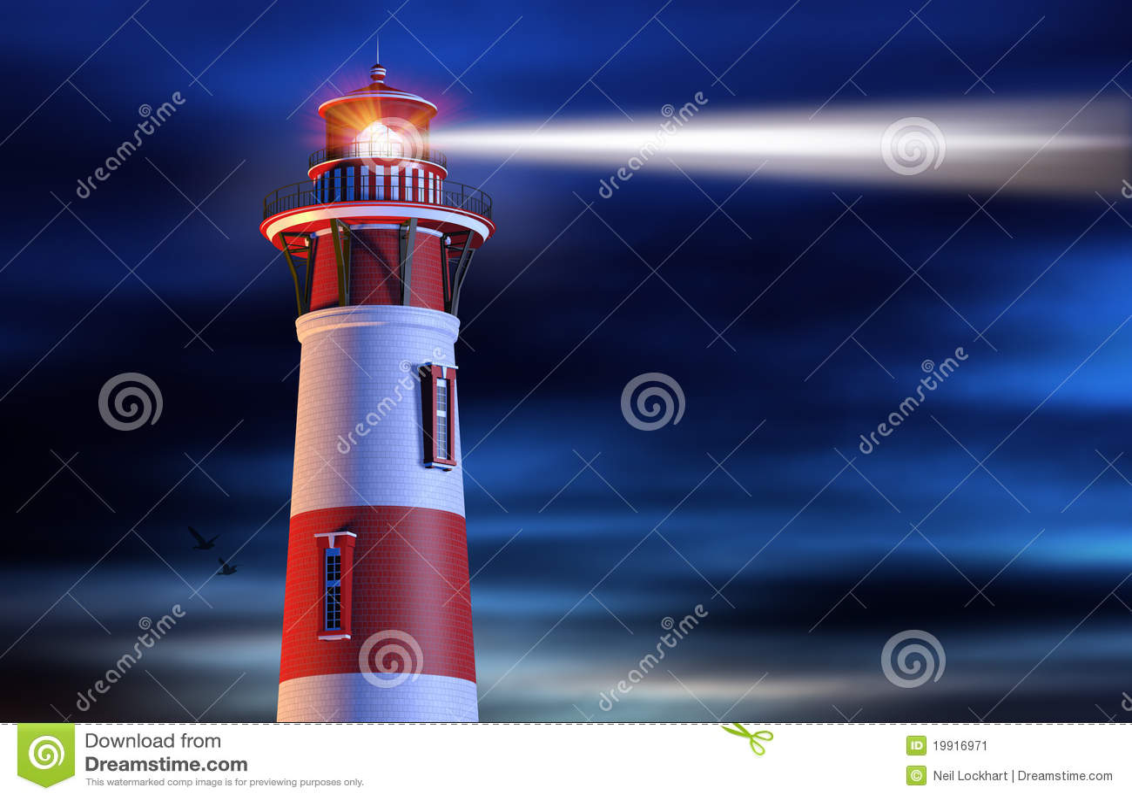 Lighthouse Beam At Night Stock Image Image 19916971