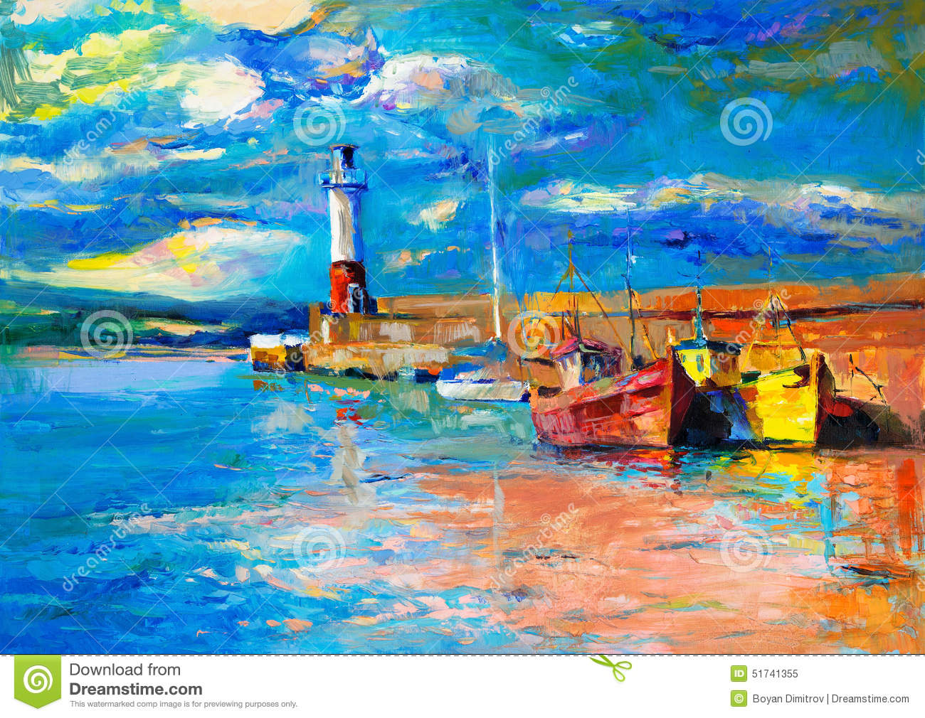 Download Lighthouse and boats stock illustration. Illustration of illustration - 51741355