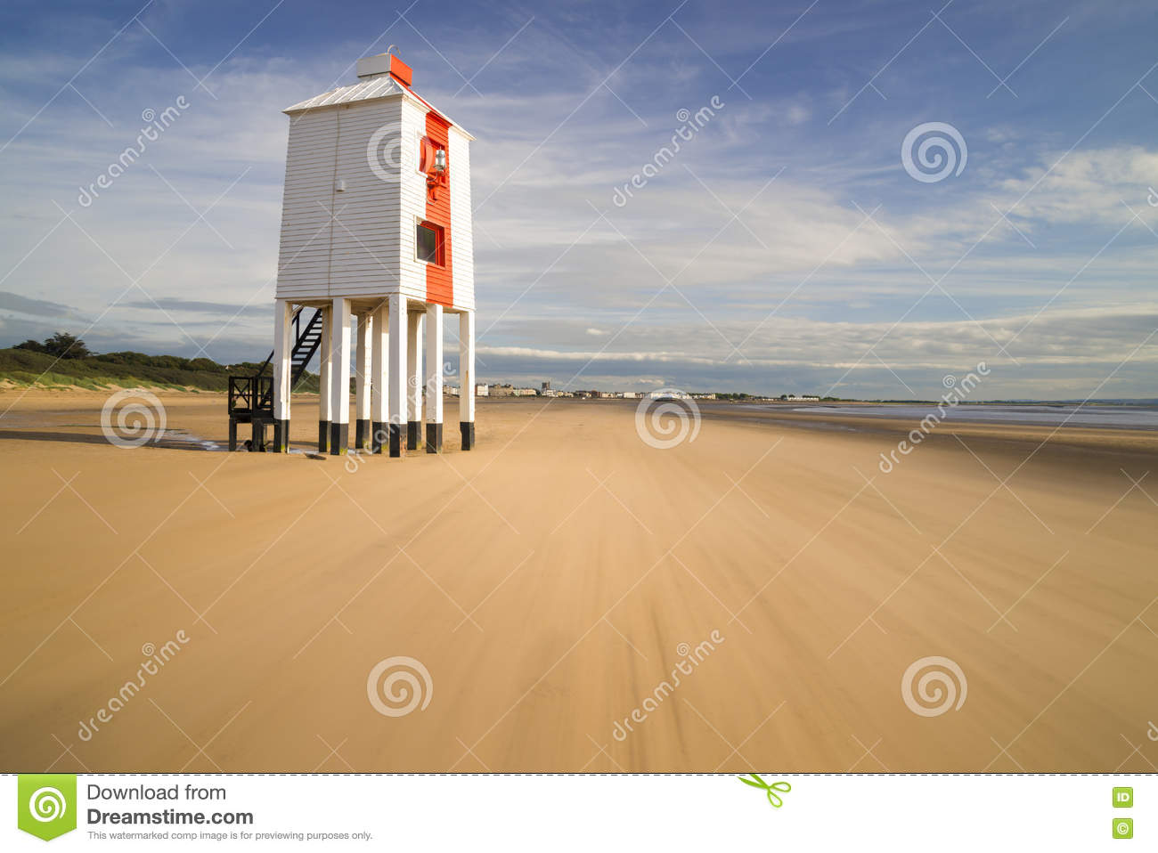 Lighthouse At Burnham-on-Sea During Low Tide Stock Photo