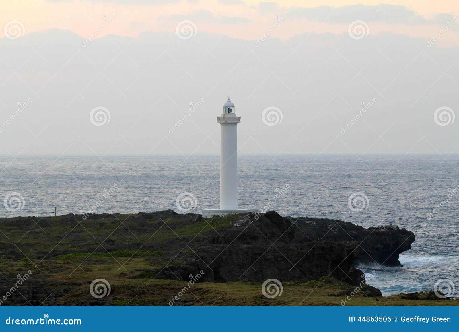 Lighthouse Cape Zampa, Yomitan Village, Okinawa Japan at Sunset