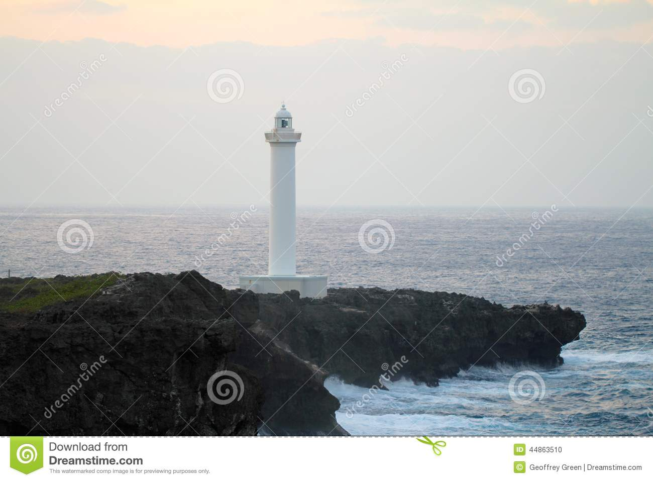Lighthouse Cape Zampa, Yomitan Village, Okinawa Japan at Sunset