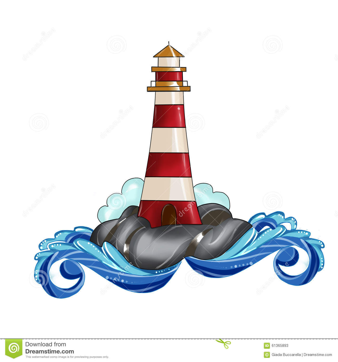 Lighthouse Clip Art Illustration Watercolor Stock Illustration - Image ...