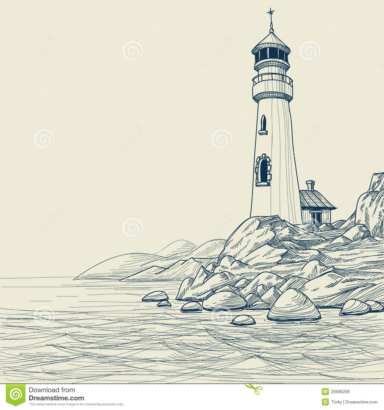 Lighthouse drawing stock vector. Image of postcard ...