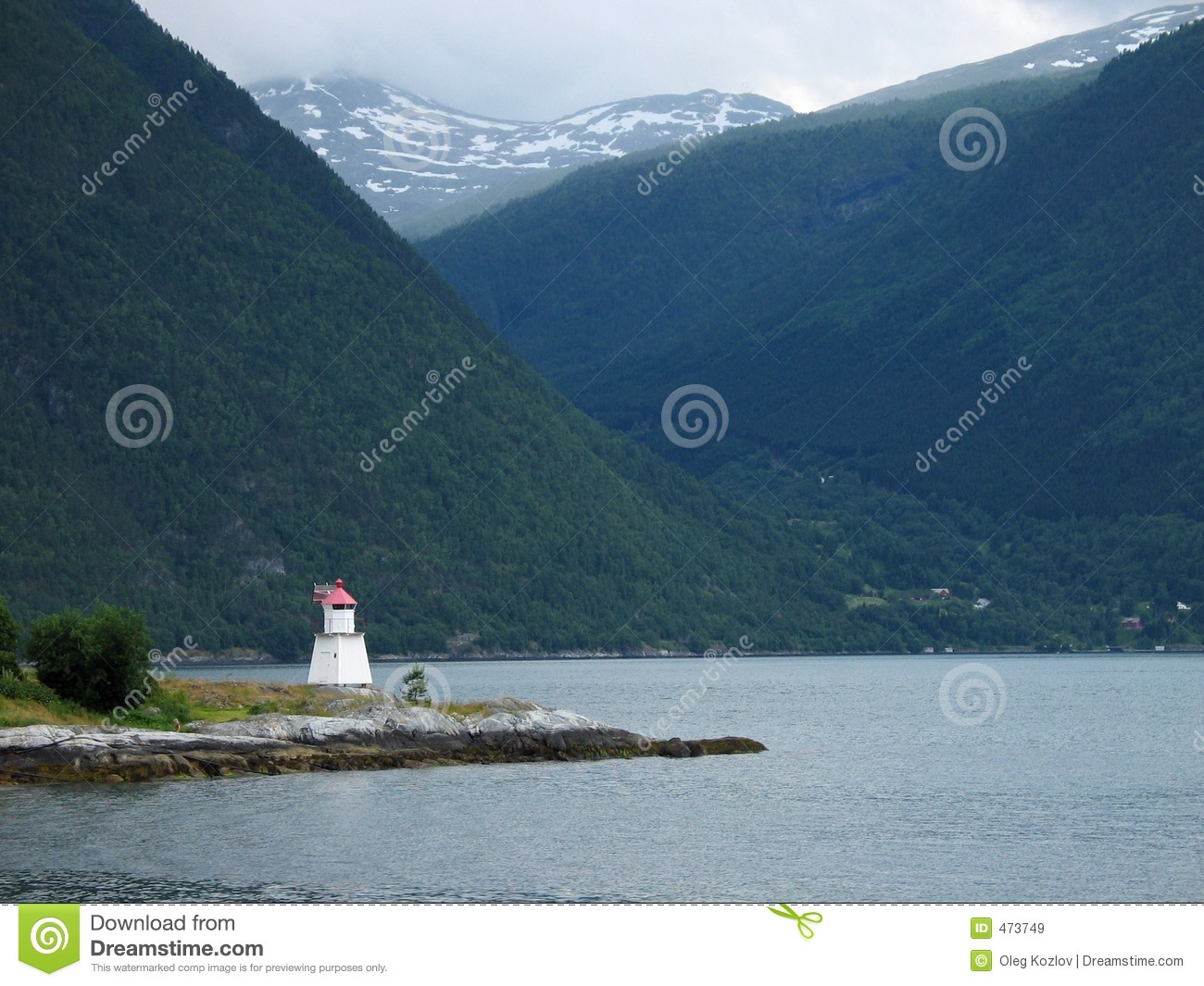 Download Lighthouse in fjord stock image. Image of geological, peaks - 473749