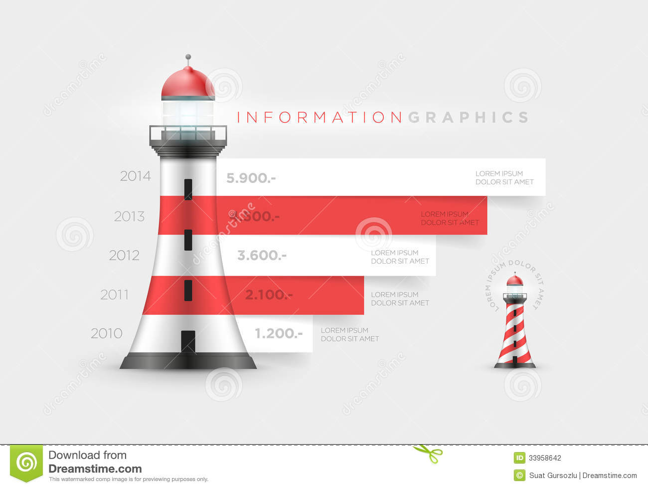 Infographics template with red white lighthouse stock vector lighthouse infographic stock photography pronofoot35fo Images