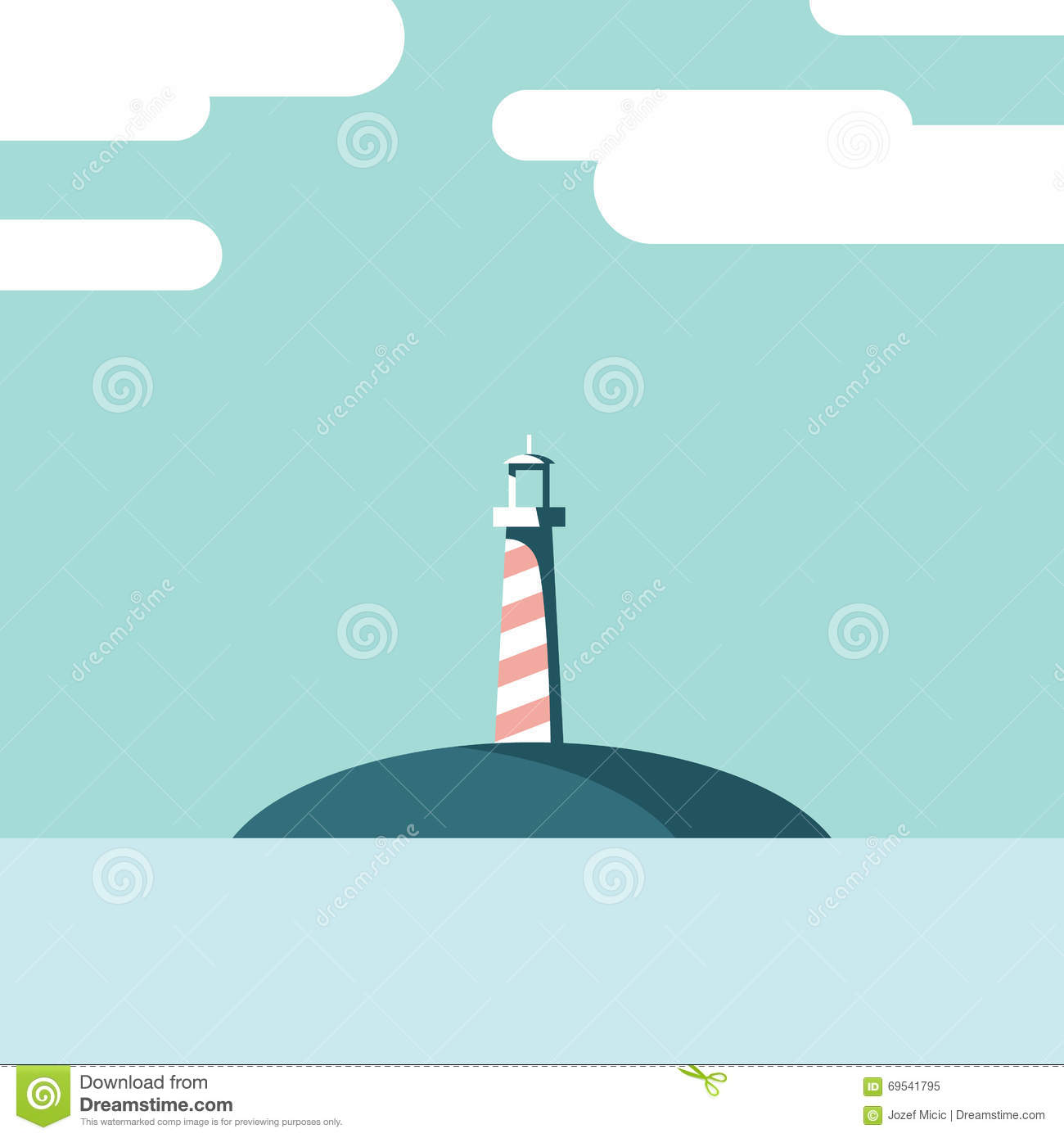 Lighthouse On An Island Landscape Vector Illustration. Summer ...