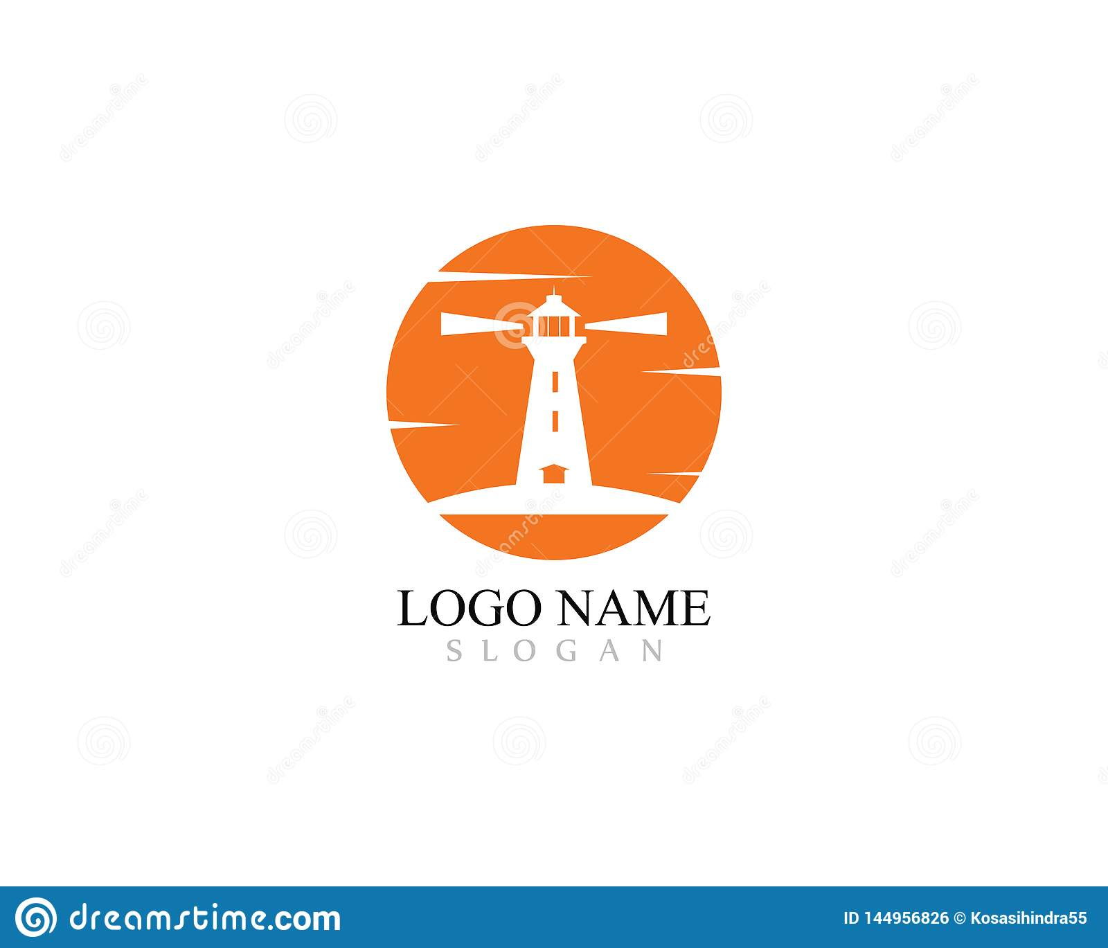 Lighthouse logo template design with sunset vector icon illustration