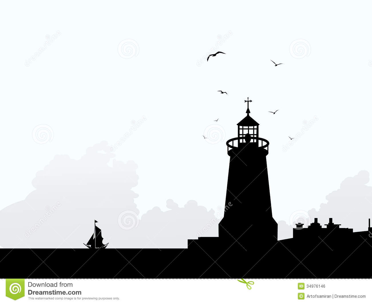 Lighthouse At Morning Silhouette Royalty Free Stock Image - Image ...