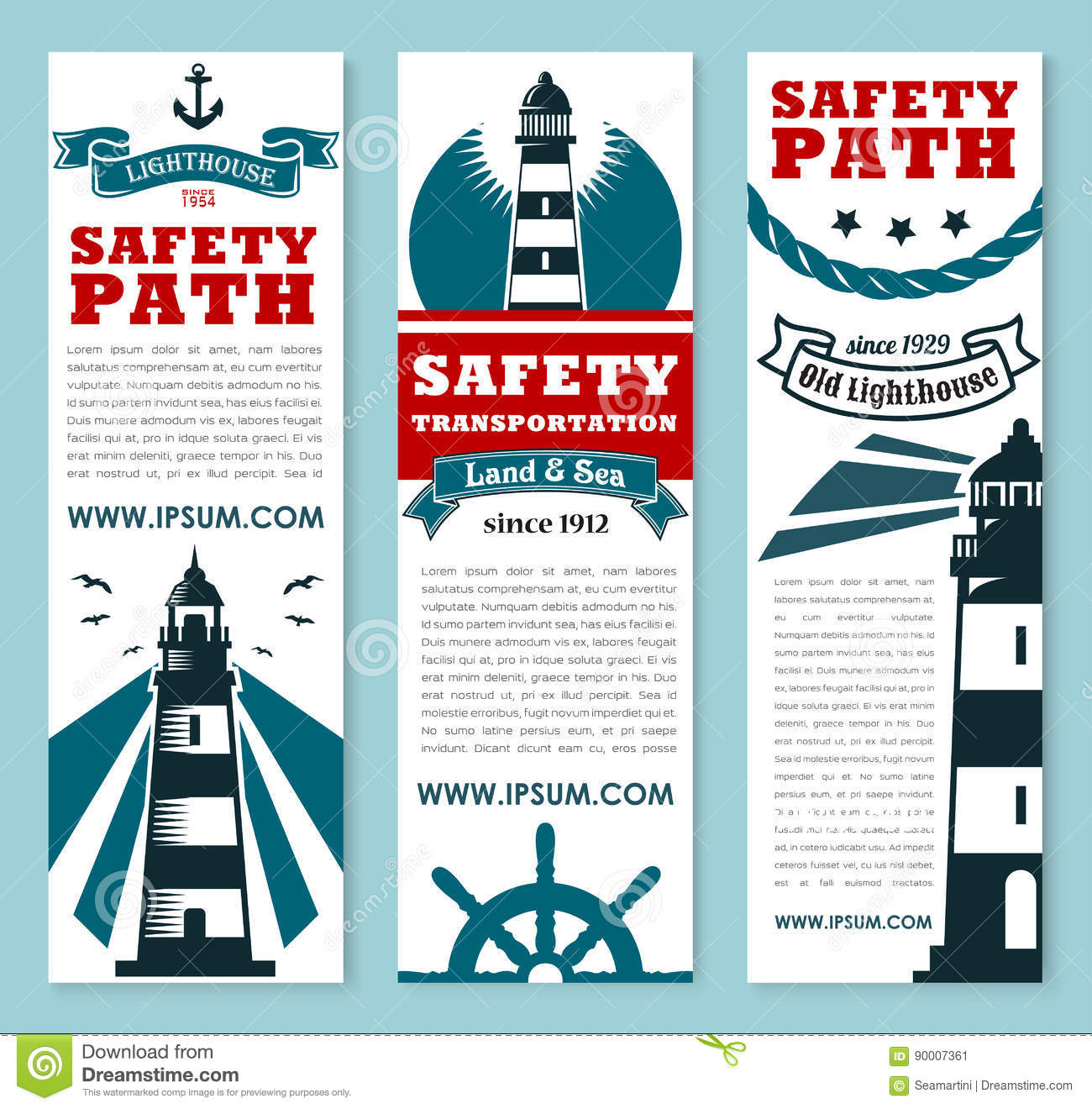 lighthouse nautical safety banner set design stock vector  image