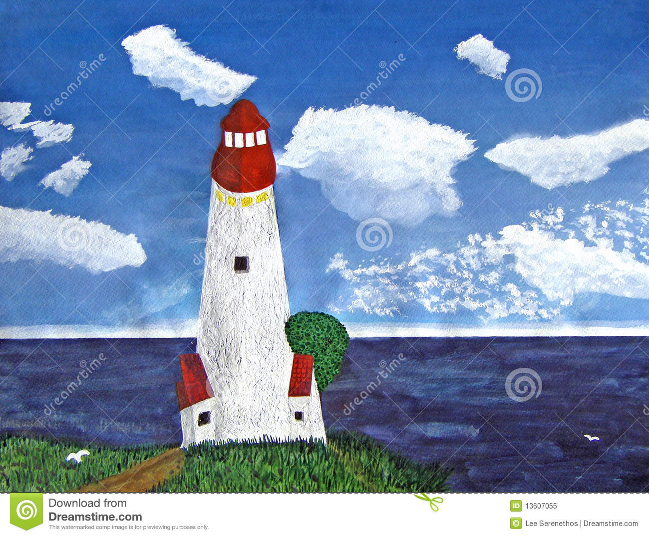 Lighthouse With Ocean View During The Day Painting Royalty