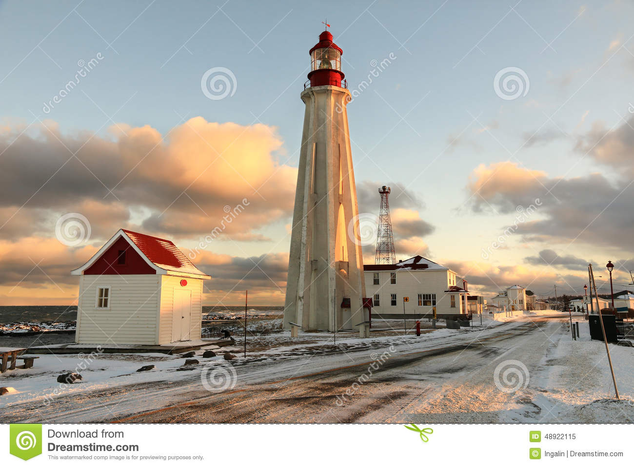 Lighthouse pointe au pere quebec canada stock image for National rimouski