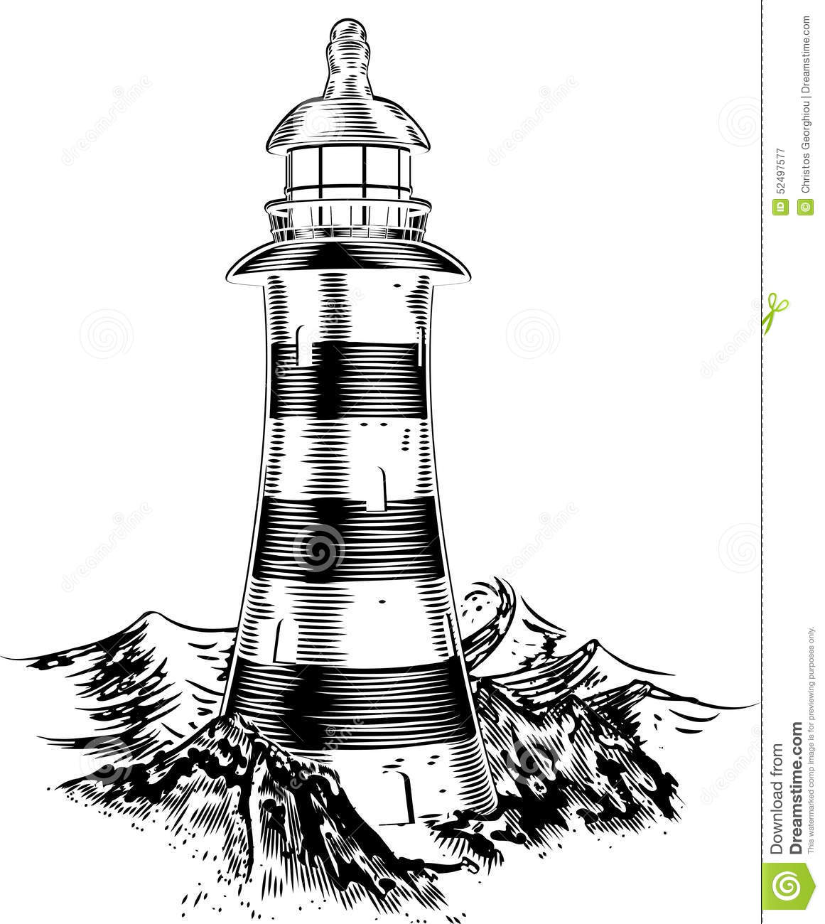 Lighthouse On Rocks Stock Vector Image 52497577