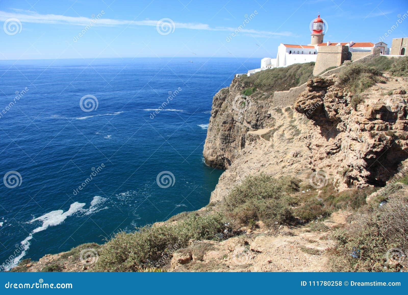 Lighthouse on Sagres cape, Faru, Portugal.