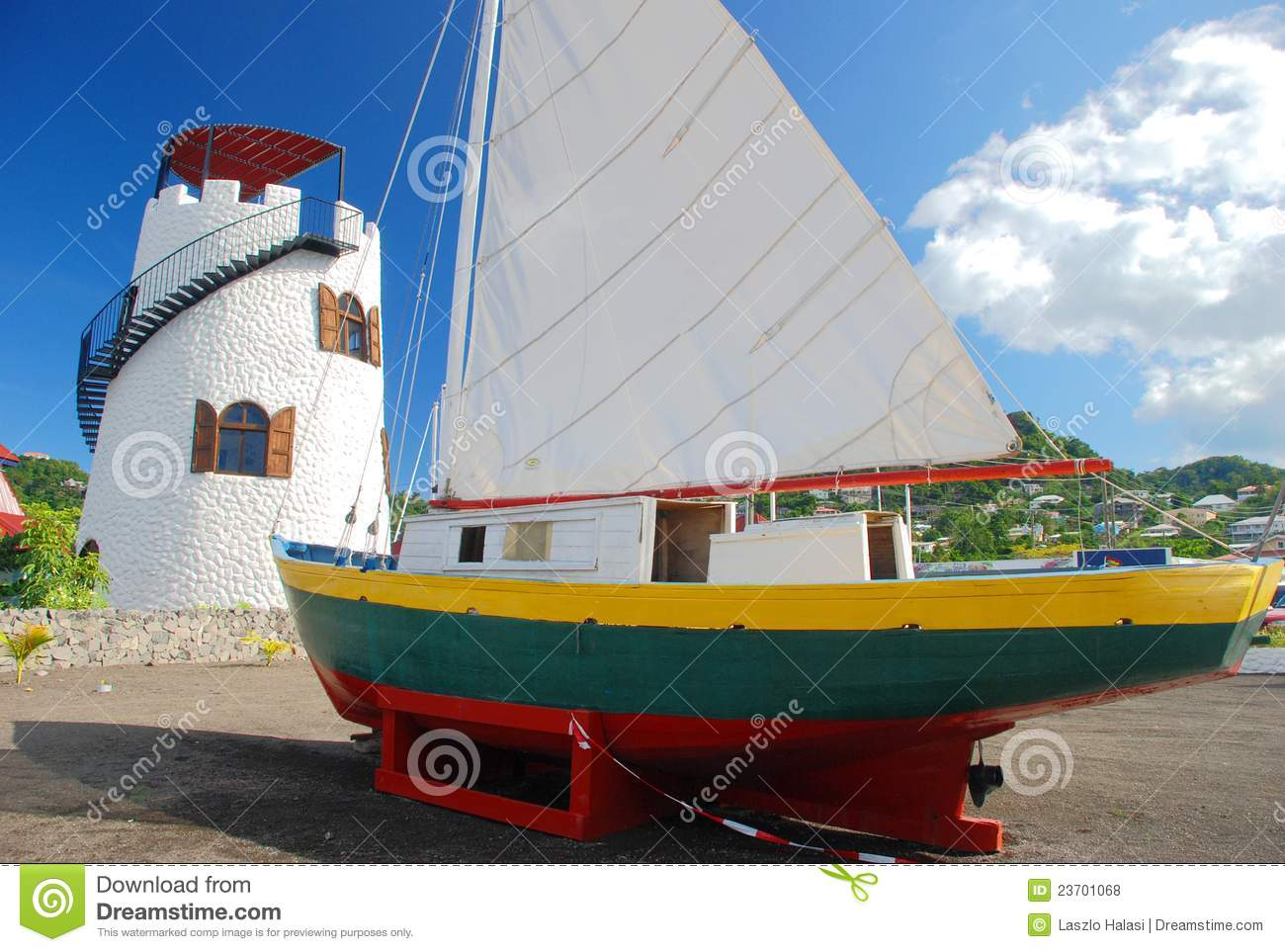 Lighthouse and sailboat on Grenada