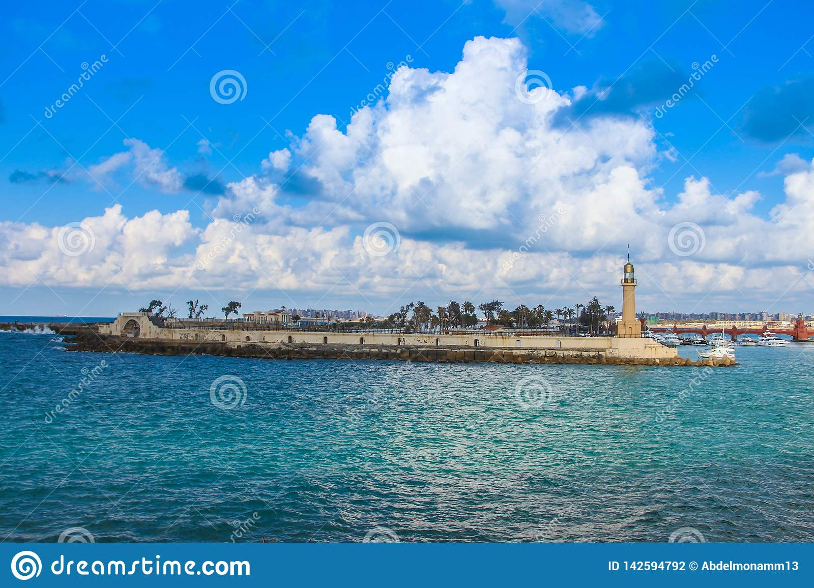Lighthouse in the sea Alexandria  in Egypt almontazah