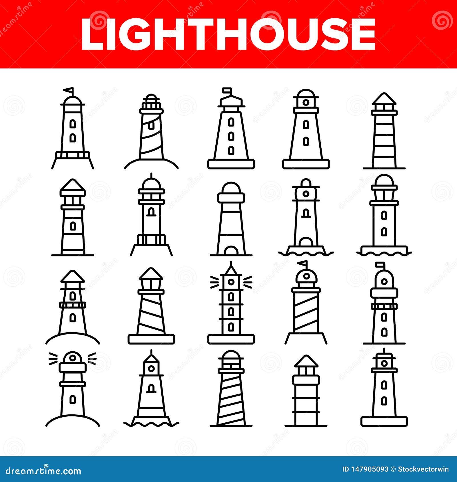 Lighthouse, Sea Beacon Linear Vector Icons Set