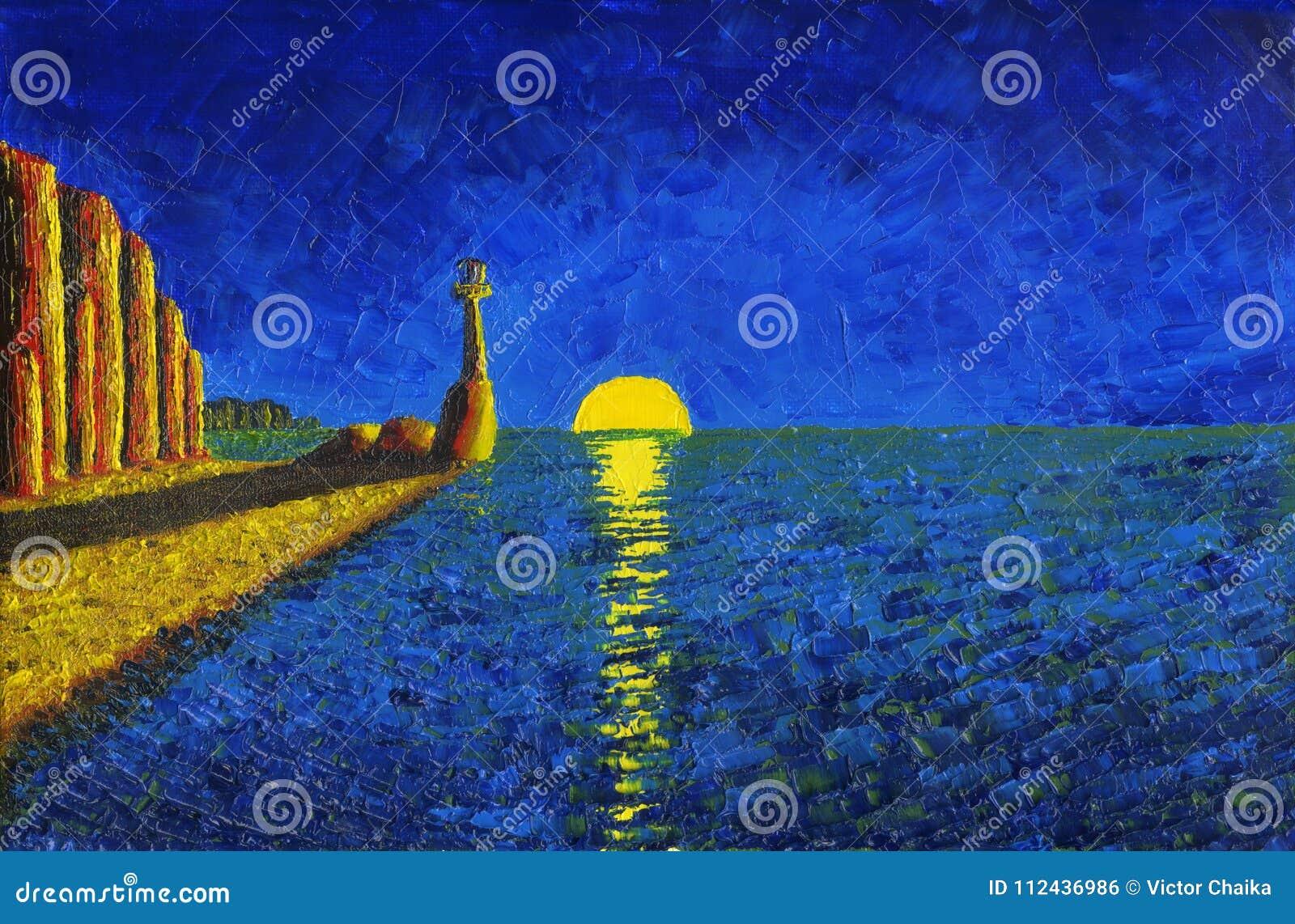 Lighthouse On The Sea Shore  Stock Illustration