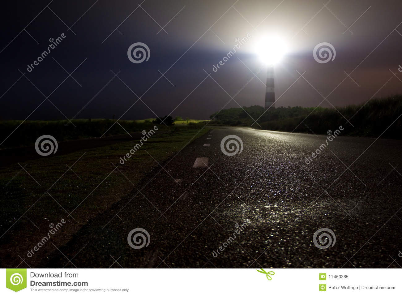 Lighthouse Shining His Light In The Night Stock Image