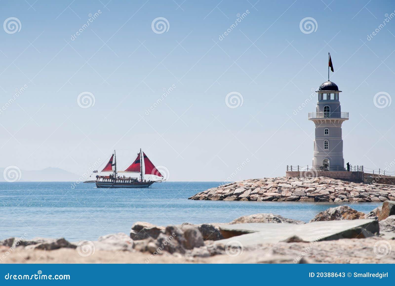 Lighthouse And Ship Stock Photos Image 20388643