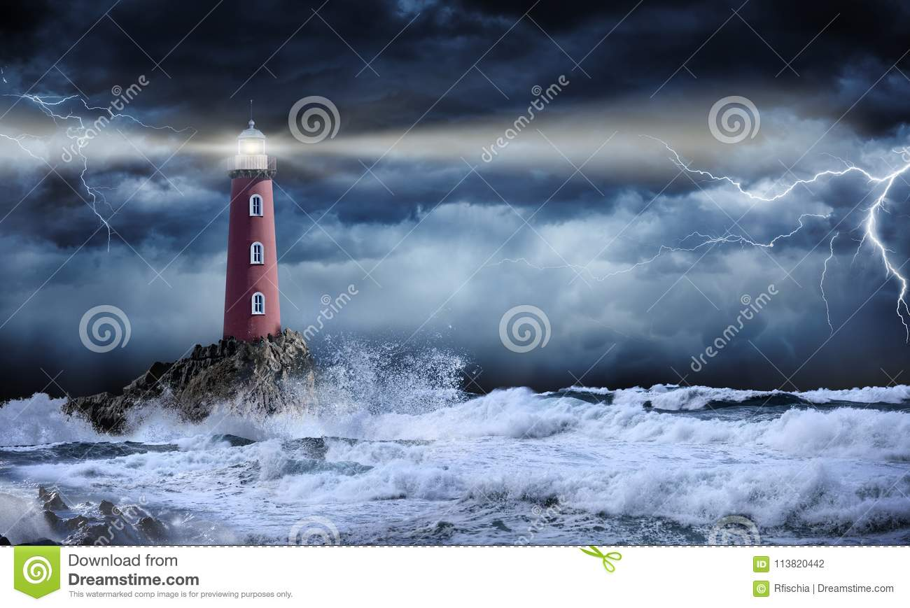 Lighthouse In Stormy Landscape