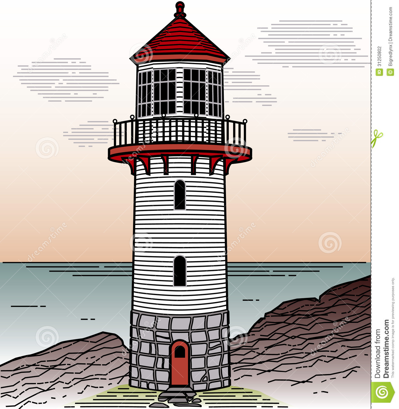 Lighthouse Line Art : Lighthouse stock vector image of line coast house