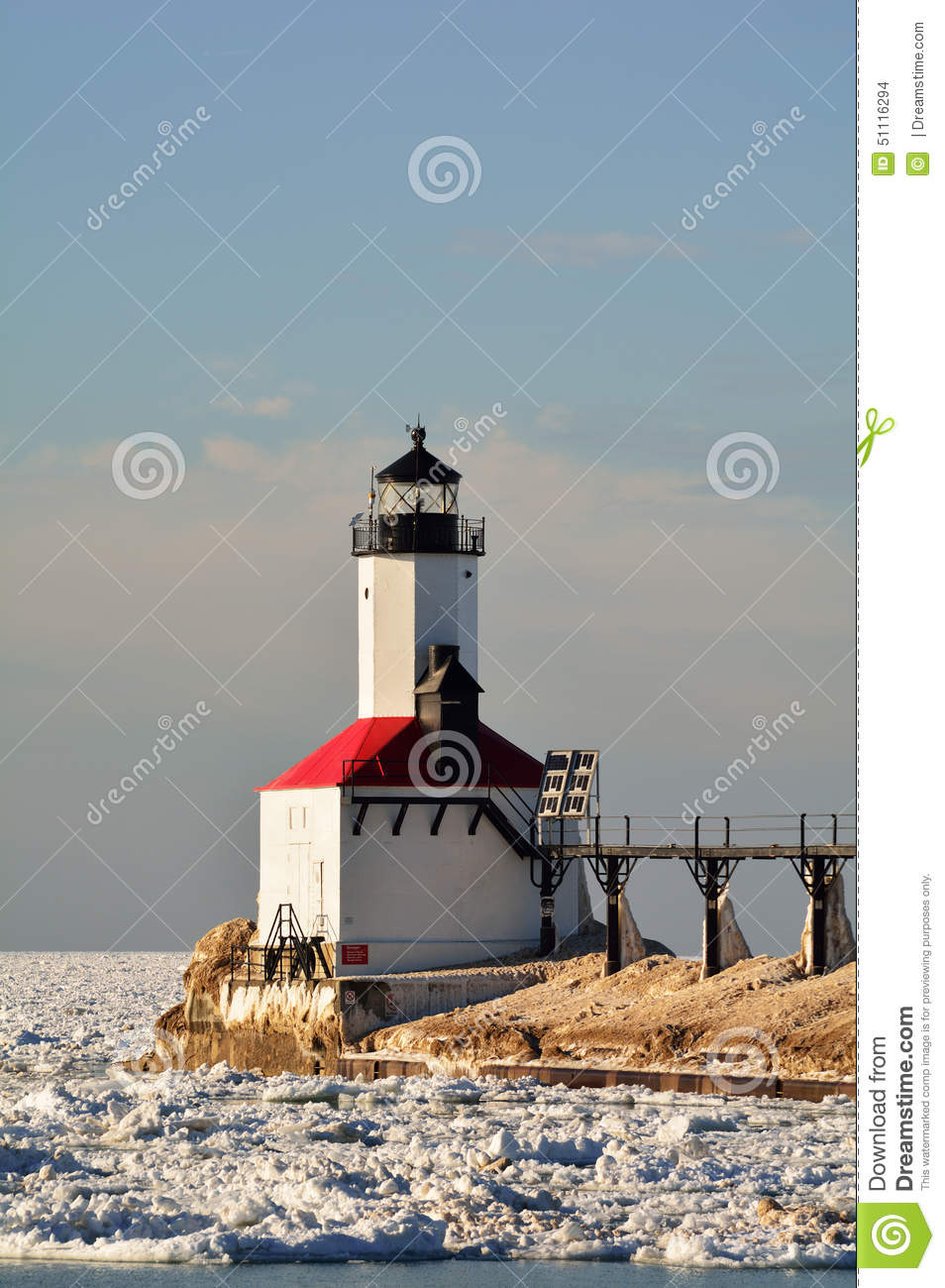 Lighthouse on Sunny Day in Winter
