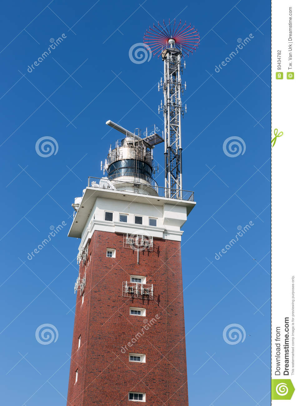 Lighthouse with telecommunication equipment at German island Helgoland