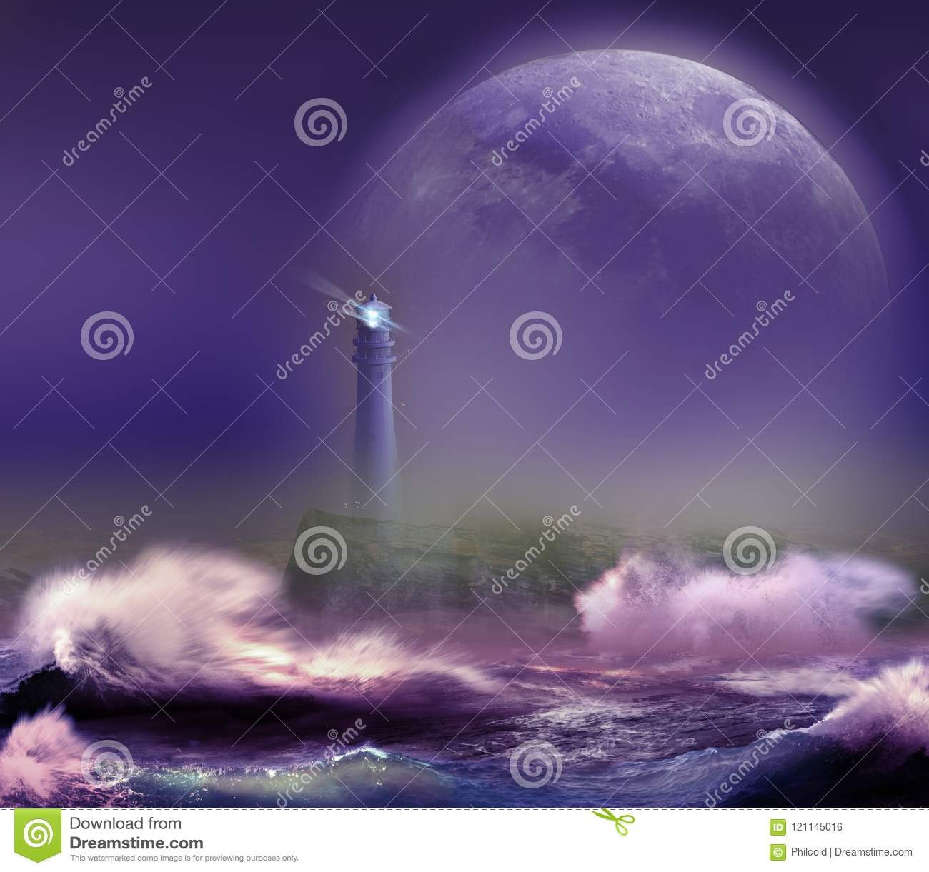 Lighthouse under the Moon