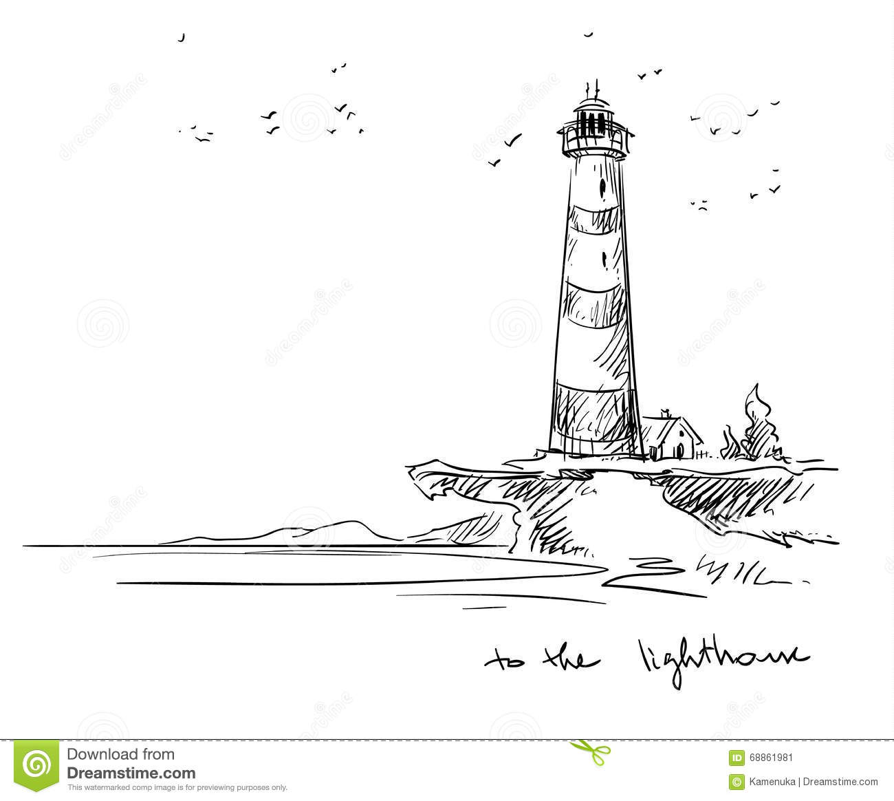 Line Drawing Lighthouse : Lighthouse vector sketch stock image